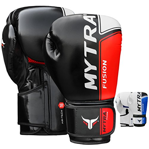Artificial Leather Boxing Gloves - Mytra Fusion Air Tech Boxing Gloves Artificial Leather Boxing Gloves 10oz 12oz 14oz 16oz Boxing Gloves for Training Punching Sparring Punching Bag Boxing Muay Thai Kickboxin (16-oz, Black Red)
