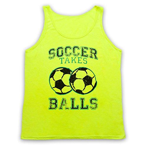 Soccer Takes Balls Funny Football Slogan Tank-Top Weste, Neon Gelb, XL