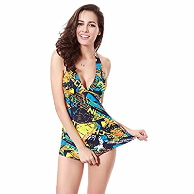 Gritu Women's Floral Print Two Piece Swimwear Swimsuit Beachwear