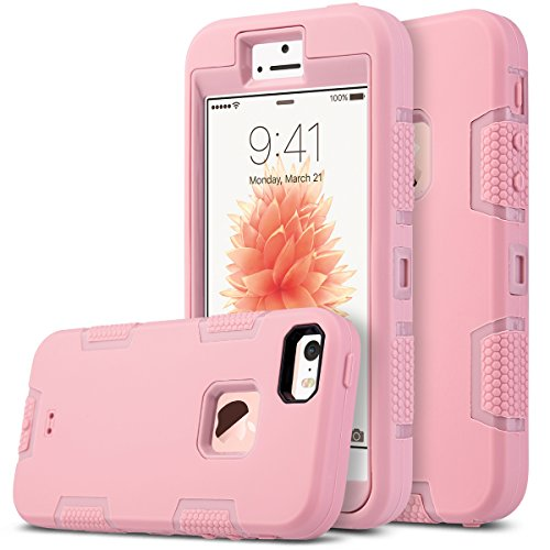 ULAK iPhone 5S Case, iPhone 5 Case,iPhone SE Case, Knox Armor Heavy Duty Shockproof Sport Rugged Drop Resistant Dustproof Protective Case Cover for Apple iPhone 5 5S SE -Rose Gold (Pink Iphone Case 5s)