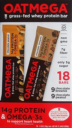 Oatmega Grass-Fed Whey Bars Variety Pack of 18 - 9 Chocolate Brownie & 9 Chocolate Peanut Oatmega Whey Protein Bars - Omega Smart Nutrition Bar