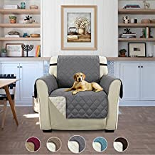 """Elegante Luxurious Reversible Sofa Furniture Protector with Adjustable Straps for Pets (Chair - Gray/Beige, 75"""" x 65"""")"""