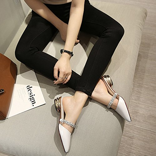 Woman Baotou Low Wear Outer Heels Half ZCJB Leather Pointed Summer Slipper White Sandals IZxfqSw5n