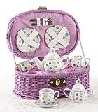 Delton Products Porcelain Tea Set in Basket, Multi-Heart, Large