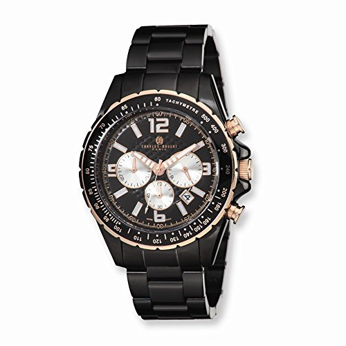 Charles-Hubert, Paris Men's 3891-B Premium Collection Black Ion-Plated Stainless Steel Chronograph Watch