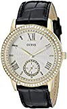 GUESS Women's U0642L2  Elegant Black & Gold-Tome Watch with Genuine Crystals