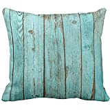 Decorative Pillow Cover - Turquoise Wood Teal Barn Wood Weathered Beach Polyester Pillow Cover 18 x 18 Inches