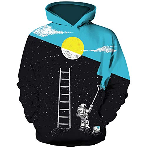 HaniLav Teen Boys' Wolf Fleece Sweatshirts Pocket Pullover Hoodies 5-12Y,Moon ()