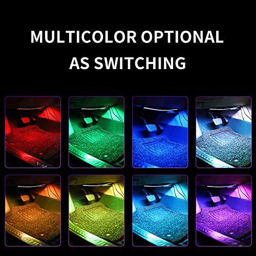 Auto LED Innenbeleuchtung , Mehrfarbige RGB Auto Atmosphärenlicht mit APP ,4pcs Streifen mit 48Led ,Wasserdicht ,Auto Fußraum Beleuchtungsstreifen Kit mit Zigarettenanzünder DC 12V