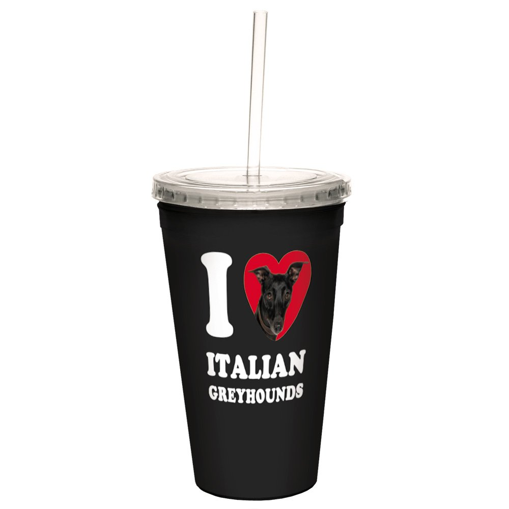 Tree-Free Greetings CC35071 I Heart Italian Greyhounds Artful Traveler Double-Walled Cool Cup with Reusable Straw 16-Ounce