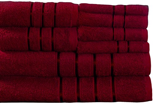 Lavish Home 8 Piece 100% Cotton Plush Bath Towel Set Burgundy