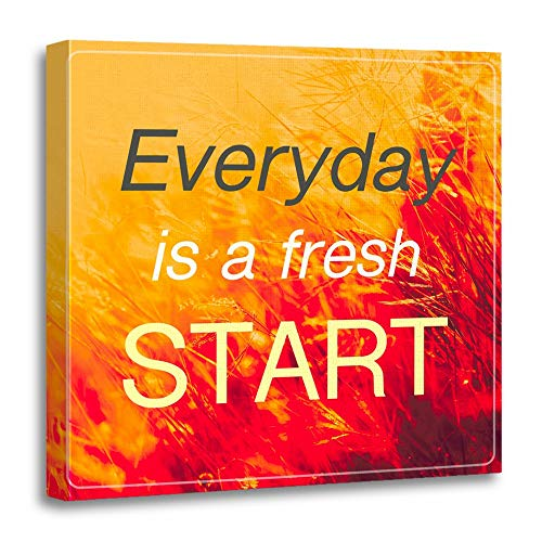 Emvency Painting Canvas Print Wooden Frame Artwork Inspiration Quote Everyday is Fresh Start on Vintage of Field in Sunlight Decorative 12x12 Inches Wall Art for Home Decor for $<!--$22.80-->