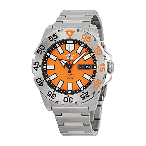 Seiko Baby Monster Automatic Orange Dial Stainless Steel Men's Watch SRP483