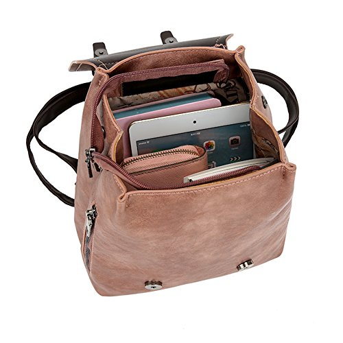Rucksack Bag School Travel Pink Vintage Faux Cover Shoulder Yamalans Leather Backpack Teens Women Backpack Flip Mini 6gnfvY