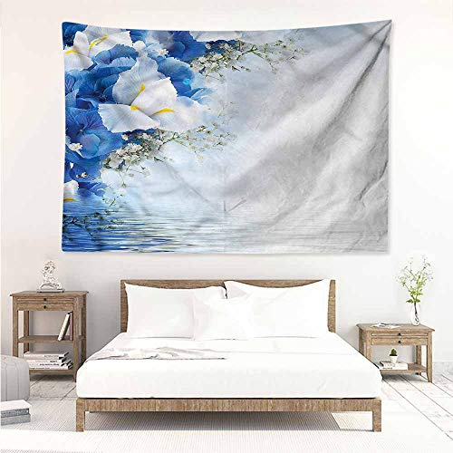 Hydrangea Blue Needlepoint - Sunnyhome Wall Tapestry for Bedroom,Blue and White Hydrangeas Irises,Tapestry for Home Decor,W23x19L