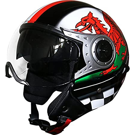 Leopard LEO-612 DOUBLE SUN VISOR Open Face Scooter Motorbike Motorcycle Helmet - Matt Black S (55-56cm) Touch Global Ltd