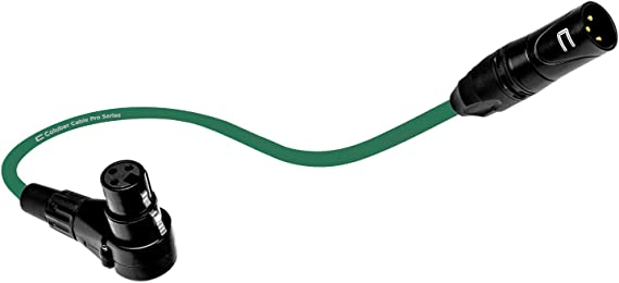 Balanced XLR Cable Male to Right Angle Female - 3 Feet Green - Pro 3-Pin Microphone Connector for Powered Speakers