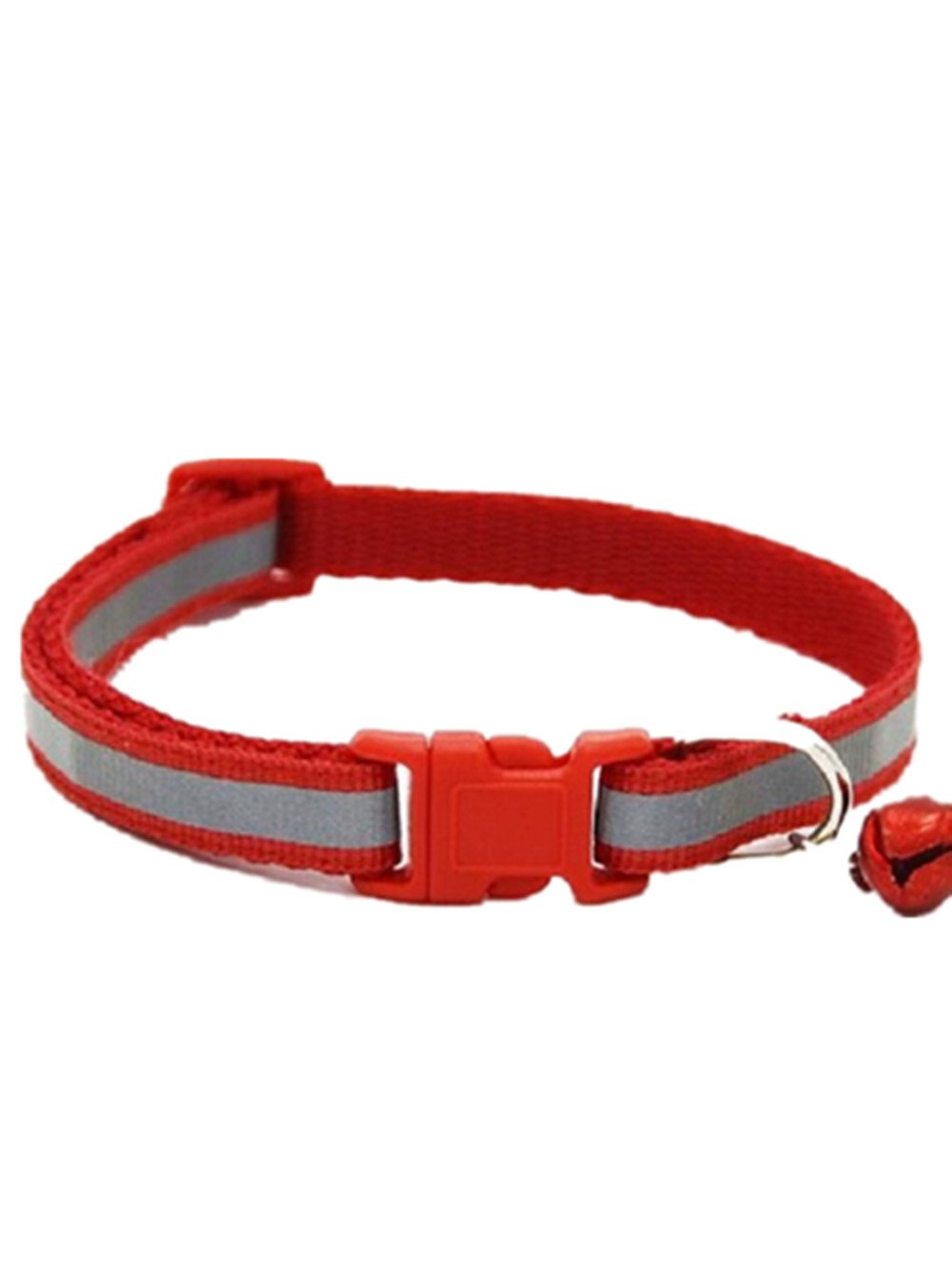 Da.Wa Reflective Pet Small Medium Size Dog Cat Adjustable Collar with Bell Gift (Red)
