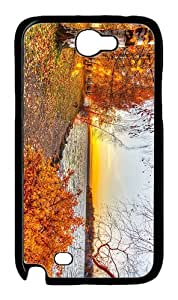 case online autumn lake sunset PC Black case/cover for samsung galaxy N7100/2