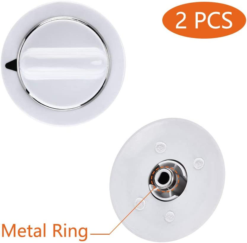 WE01x20374 2 Pcs WE1M654 Timer Knob with Metal Ring for General Electric Dryer & Hotpoint Dryers – Replaces AP3995098 WE01M0443 WE1M443