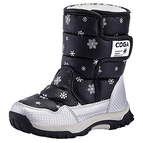 K&T Kids Boots Girls Boys Winter Snow Boots Outdoor Waterproof Non-Slip Sneakers(Toddler/Little Kid/Big Kid) Black ()
