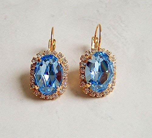 Simulated Light Sapphire Blue Oval Gold Tone Leverback Earrings Made w/Swarovski Crystals Gift Idea