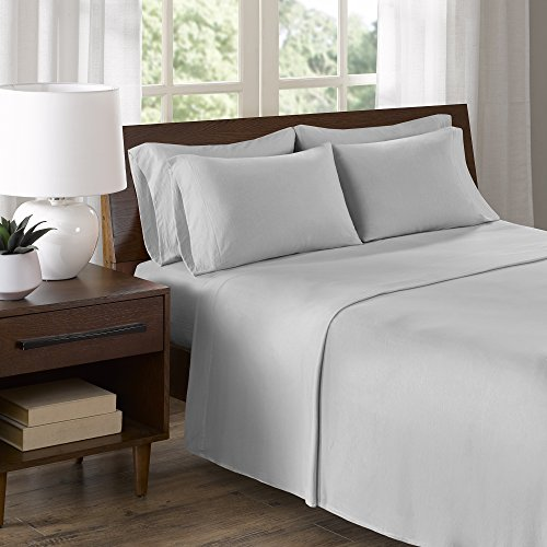 Jersey Knit Cotton Sheets (Comfort Spaces - Ultra Soft Cotton Blend Jersey Knit Sheet Set - 6 Piece - Gray - King Size - Includes 1 Fitted Sheet, 1 Flat Sheet and 4 Pillow Cases)
