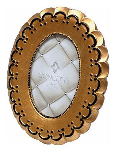 Concepts Picture Frame Gold Round Opening With Moon Shape Around Opening - Frame Round Gold