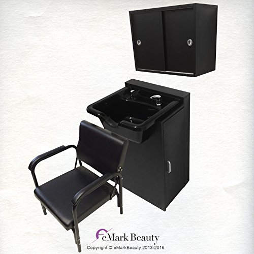 Extra Wide Black Shampoo Bowl Towel Storage Cabinet Reclining Chair Shampoo Cabinet by eMark Beauty
