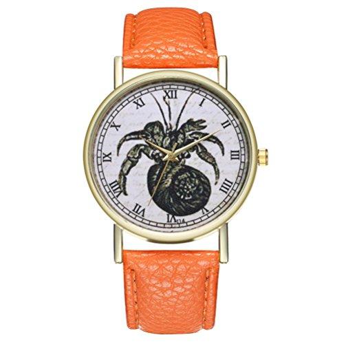 24CM Woman Men Unsex Lovers Fashion Leather Band Analog Spider pattern Quartz Round Wrist Watch horloges mannen (Orange)