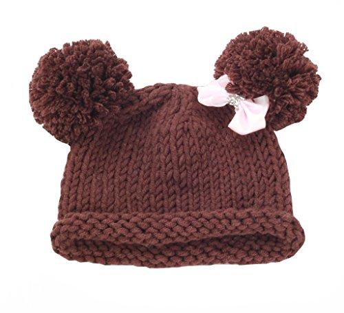2727a5cc zefen Bestknit Baby Girls Pompom Hat Props Crochet Knitted Pom Pom Hat Bow  Beanie