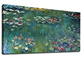 yearainn Canvas Wall Art Water Lilies by Claude Monet Panoramic Scenery Painting - Long Green Garden Canvas Artwork Reproductions Contemporary Nature Picture for Home Office Wall Decor 20'' x 40''