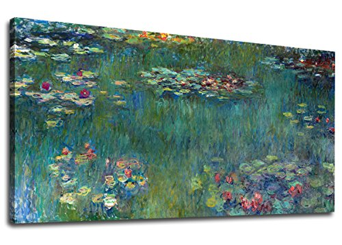 (yearainn Canvas Wall Art Water Lilies by Claude Monet Panoramic Scenery Painting - Long Green Garden Canvas Artwork Reproductions Contemporary Nature Picture for Home Office Wall Decor 20