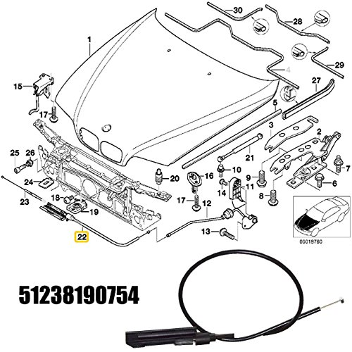 autopa engine hood release cable kit for bmw 5 series e39