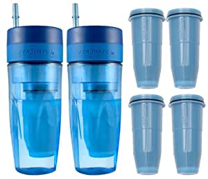 zerowater 26oz portable filtration tumbler and 4 pack tumbler replacement filters. Black Bedroom Furniture Sets. Home Design Ideas