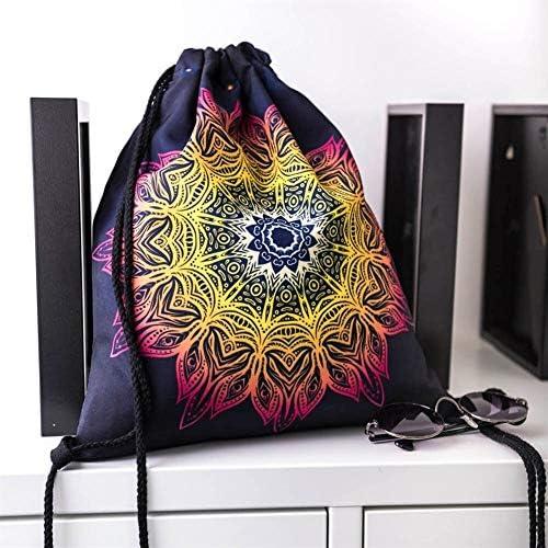 Brandless Mode Frauen Männer Kinder-Rucksack Retro Mandala 3D-Druck-Speicher-Beutel Sports Taschen-Beutel-Schuh-Beutel Rucksack 2020 (Color : C)