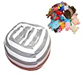 Extra Large Cotton Canvas Stuffed Animal Storage Bean Bag Cover Stuffed Animal Storage Bean Bag Chair Sack Bean Bag Stuffed Animal Storage Organization Double Stitching(Grey stripe, 42'')