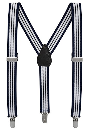 Buyless Fashion Kids And Baby Adjustable Elastic Solid Color 1 inch Suspenders - Navy White Stripe - Size (Old Navy Gray Jeans)
