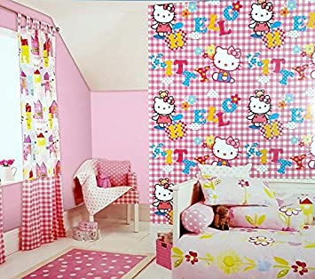 Jasmaira Wallcovering Hello Kitty Cute Pink Wallpaper For Girls Room