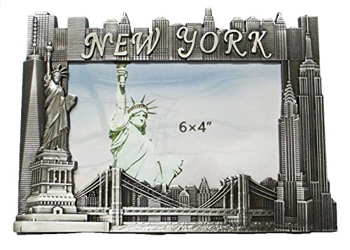 New York Souvenir Metal Pewter Picture Frame with Statue of Liberty Empire State Building Freedom Tower NYC Skyline Fits 6x4 -