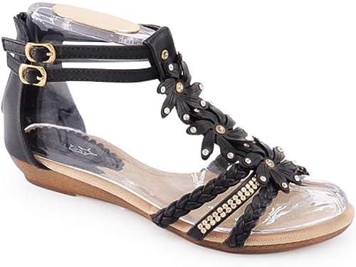 Damen Sandalen Sandaletten ST98 Keilabsatz Blumen Glitzer Zehentrenner