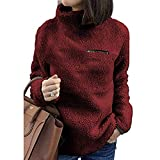 WOCACHI Final Clear Out Womens Sweater Turtleneck Pullover Jumpers Zipper Decor Tops Blouses Black Friday Cyber Monday Winter Casual Solid Color Warm Thick Plush Suede (Wine, Large)