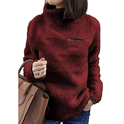 Micro Fleece Turtleneck (ANJUNIE Women Solid Sweater Zippers Turtleneck Blouse Fleece Sweatshirt Pullover Tops(Wine,M))