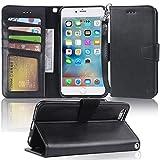 Arae iPhone 6s Plus Case, iPhone 6 Plus case, [Wrist Strap] Flip Folio [Kickstand Feature] PU Leather Wallet case with ID&Credit Card Pockets for Apple iPhone 6 Plus / 6S Plus 5.5 (Black)