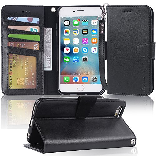 Arae Wallet case for iPhone 6s Plus/iPhone 6 Plus [Kickstand Feature] PU Leather with ID&Credit Card Pockets for iPhone 6 Plus / 6S Plus 5.5 inch (not for 6/6s) (Black)