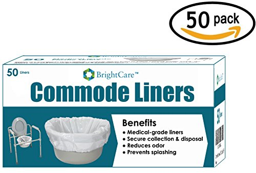 Commode Liners (50 Count) - Medical Grade Sanitary Liner Bags for Commode Pail and Bedside Toilet by BrightCare - Commode Pail Liner
