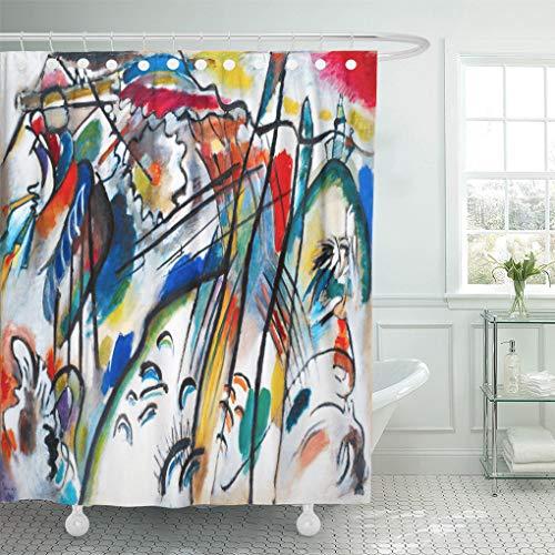 Kandinsky Modern Painting - Semtomn Shower Curtain Painting Kandinsky Improvisation Images Abstract Modern Famous Artists 66