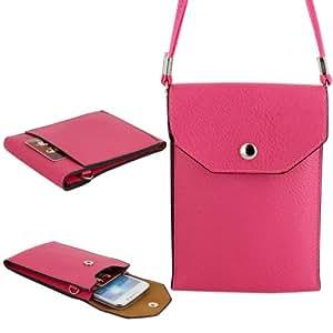 Skque® Samsung Galaxy S5Folio de doble capa de piel PU Wallet Case Carcasa Funda para Samsung Galaxy S5, color rosa oscuro