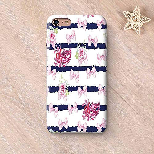 (Masquerade No Odor Compatible with iPhone Case,Venetian Style Carnival Masks on Stripes with Satin Bows Roses Flowers Compatible with iPhone 7/8 Plus,iPhone 6 Plus / 6s Plus)