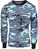 Army Universe Sky Blue Camouflage Long Sleeve Military T-Shirt with Pin - Size X-Large (45''-49'')